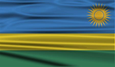 rwanda: Flag of Rwanda with old texture. Vector illustration Illustration