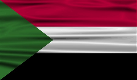 correctly: Flag of Sudan with old texture. Vector illustration