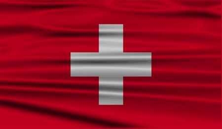 europe closeup: Flag of Switzerland with old texture. Vector illustration
