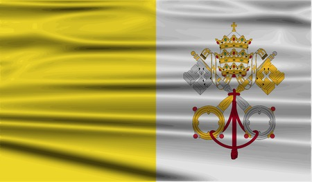 vatican city: Flag of Vatican with old texture. Vector illustration