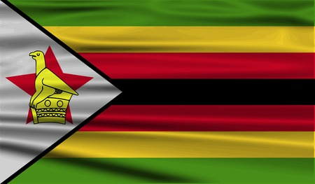 Flag of Zimbabwe with old texture. Vector illustration Vector