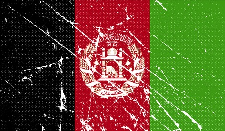 afghan flag: Flag of Afghanistan with old texture. Vector illustration