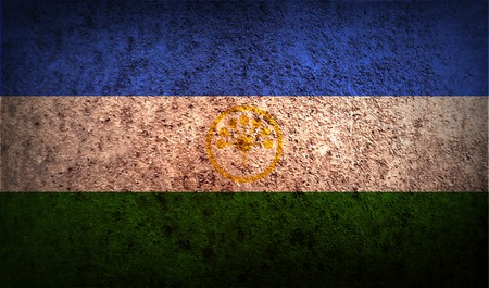 standards: Flag of Bashkortostan with old texture. Vector illustration