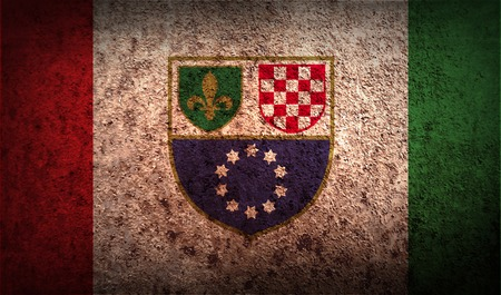 wallpaper  eps 10: Flag of Bosnia and Herzegovina Federation with old texture. Vector illustration Illustration