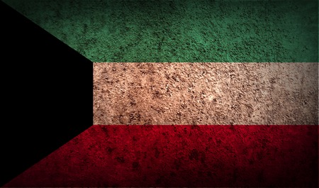 patriots: Flag of Kuwait with old texture. Vector illustration