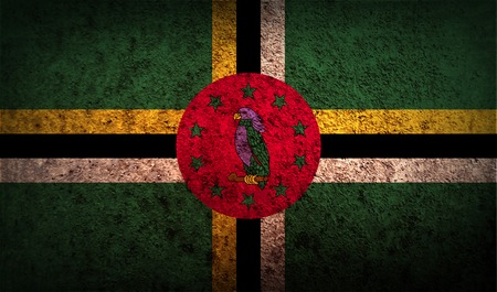 dominica: Flag of Dominica with old texture. Vector illustration