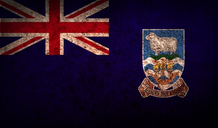 falkland: Flag of Falkland Islands with old texture