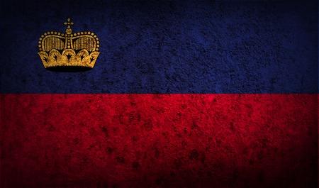 li: Flag of Liechtenstein with old texture. Vector illustration Illustration