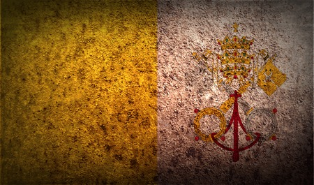 Flag of Vatican with old texture. Vector illustration