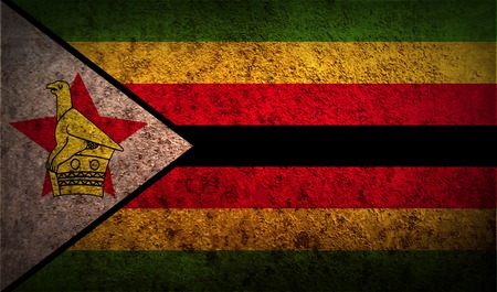 correctly: Flag of Zimbabwe with old texture. Vector illustration Illustration