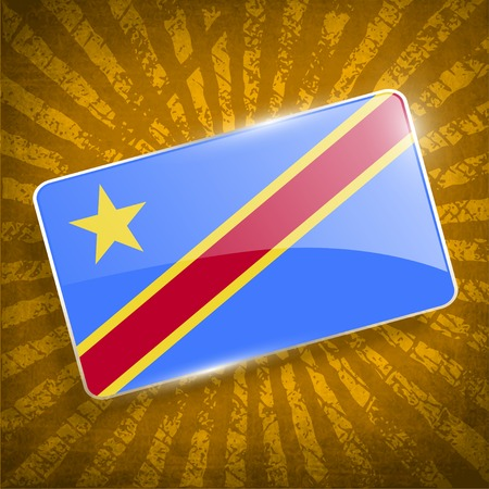 democratic republic of the congo: Flag of Congo Democratic Republic with old texture Illustration