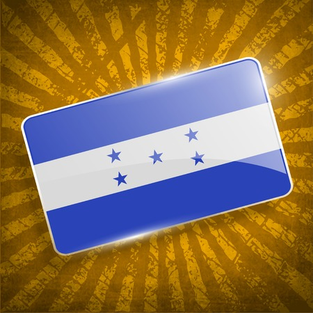spangled: Flag of Honduras with old texture.  Illustration