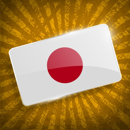 hinomaru: Flag of Japan with old texture.  Illustration