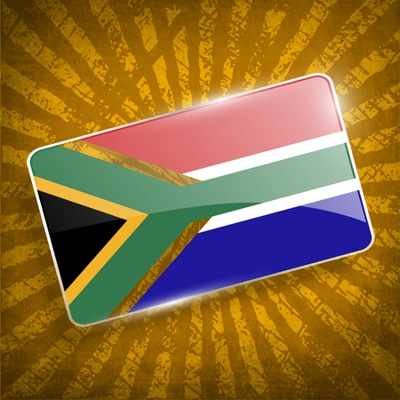 cape town: Flag of South Africa with old texture. Illustration