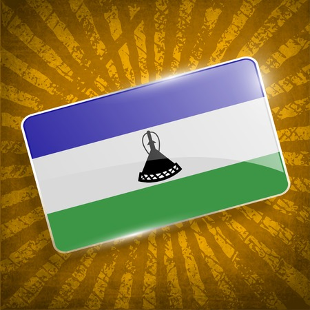 lesotho: Flag of Lesotho with old texture.  Illustration