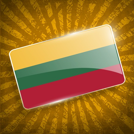 europe closeup: Flag of Lithuania with old texture.