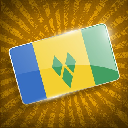 grenadines: Flag of Saint Vincent and The Grenadines with old texture
