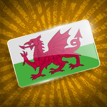 cymru: Flag of Wales with old texture.