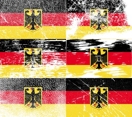 deutsch: Flag of Arms of Germany with old texture. Vector illustration