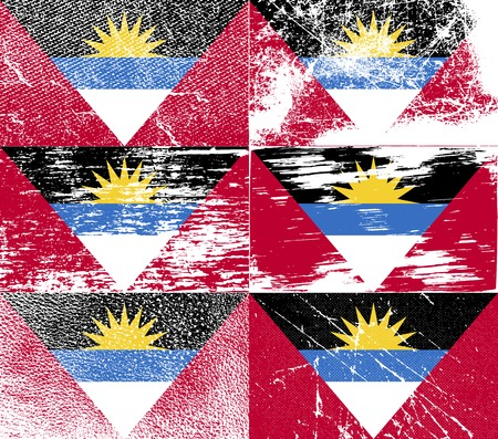 barbuda: Flag of Antigua and Barbuda with old texture. Vector illustration