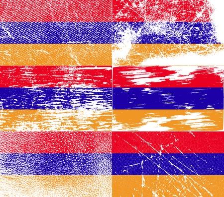 armenia: Flag of Armenia with old texture. Vector illustration