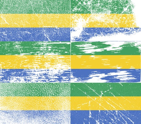 correctly: Flag of Gabon with old texture. Vector illustration