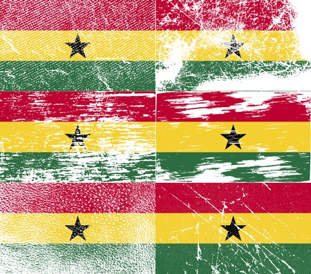 deutsch: Flag of Ghana with old texture. Vector illustration Illustration