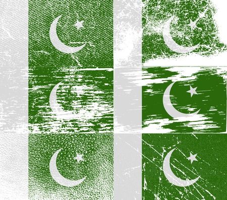 gulf: Flag of Pakistan with old texture. Vector illustration