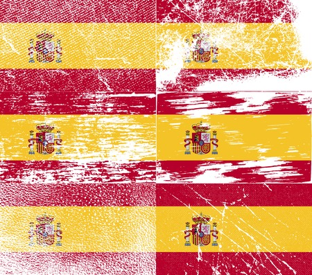 kingdom of spain: Flag of Spain with old texture. Vector illustration