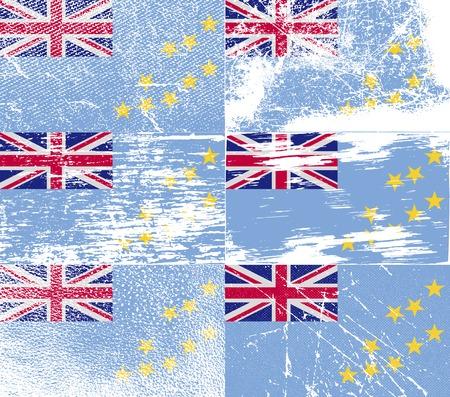 tuvalu: Flag of Tuvalu with old texture. Vector illustration Illustration