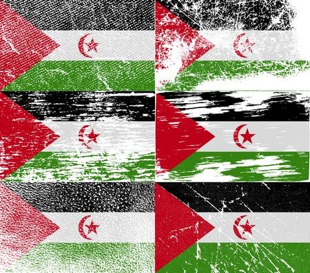 landlocked country: Bandera del S�hara Occidental con textura de edad. Ilustraci�n vectorial