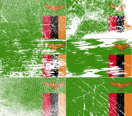 zambia: Flag of Zambia with old texture. Vector illustration