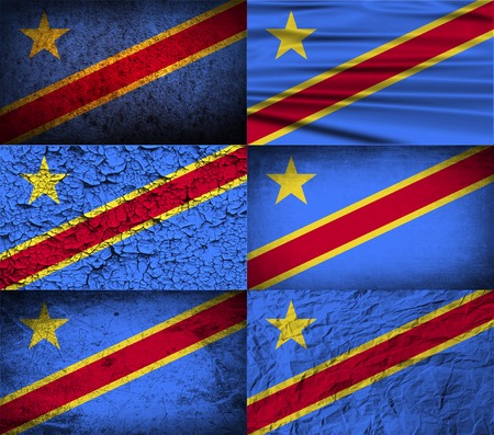 democratic republic of the congo: Flag of Congo Democratic Republic with old texture. Vector illustration Illustration