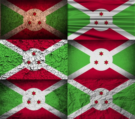 proportional: Flag of Burundi with old texture. Vector illustration