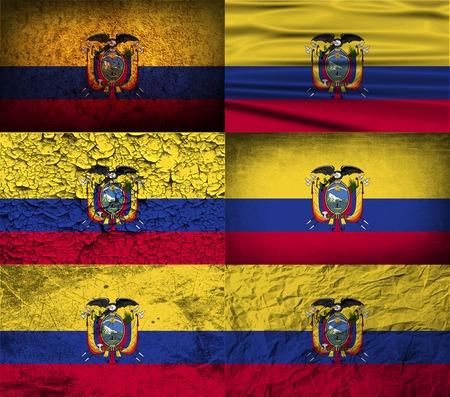 ecuador: Vlag van Ecuador met oude structuur. Vector illustratie