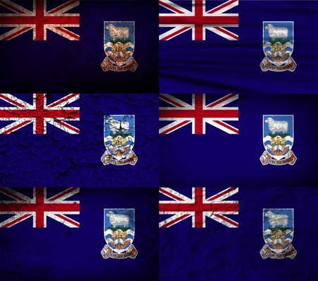 falkland: Flag of Falkland Islands with old texture. Vector illustration
