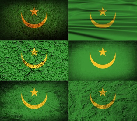 moresque: Flag of Mauritania with old texture. Vector illustration