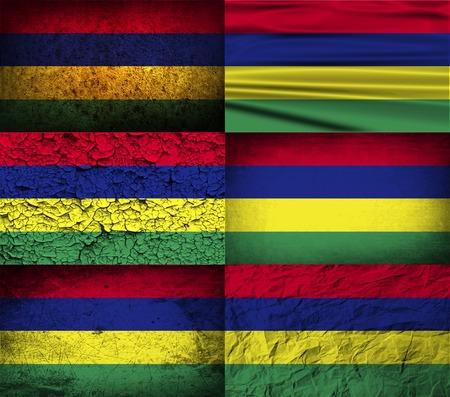 samoa: Flag of Mauritius with old texture. Vector illustration Illustration
