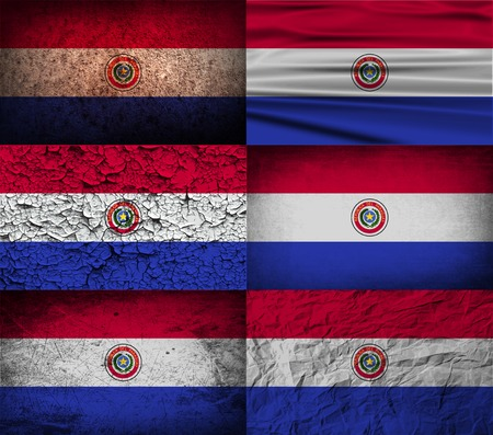 standards: Flag of Paraguay with old texture. Vector illustration