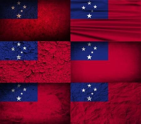 samoa: Flag of Samoa with old texture. Vector illustration