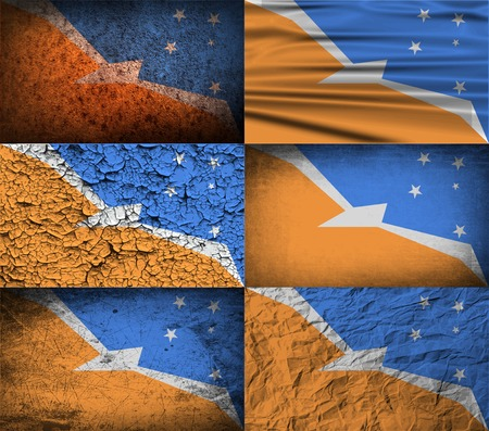 del: Flag of Tierra del Fuego Province with old texture. Vector illustration
