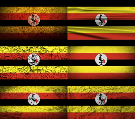 correctly: Flag of Uganda with old texture. Vector illustration Illustration