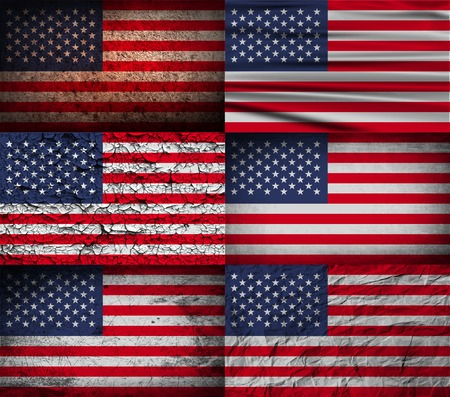 Flag of USA with old texture. Vector illustration Çizim