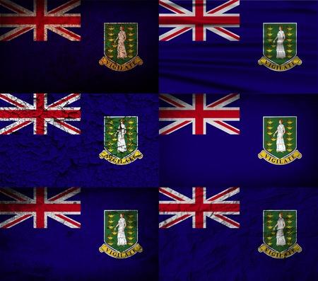 Flag of Virgin Islands UK with old texture. Vector illustration Иллюстрация