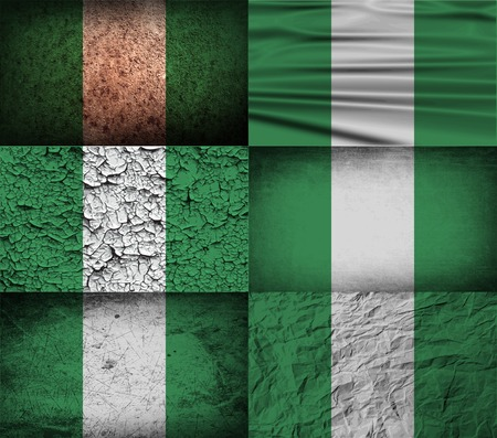 anthem: Flag of Nigeria with old texture. Vector illustration Illustration