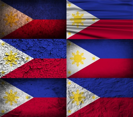 philippines: Flag of Philippiines with old texture. Vector illustration Illustration