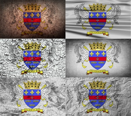 standards: Flag of Saint Barthelemy with old texture. Vector illustration Illustration