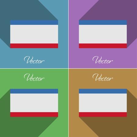 crimea: Flags of Crimea. Set of colors flat design and long shadows. Vector illustration
