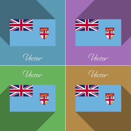fiji: Vlaggen van Fiji. Set van kleuren platte design en lange schaduwen. Vector illustratie Stock Illustratie