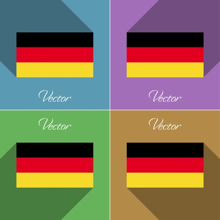 deutsch: Flags of Germany. Set of colors flat design and long shadows. Vector illustration